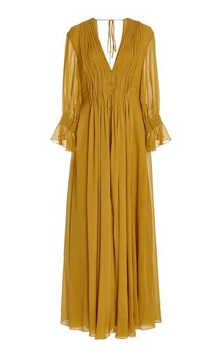 Carlo Gathered Silk Maxi Dress