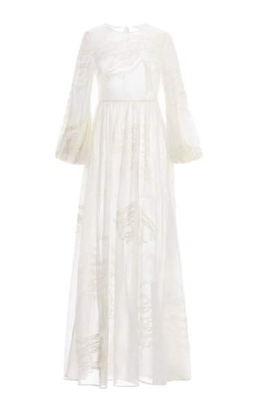 Zafiro Manglares Embroidered Silk Maxi Dress
