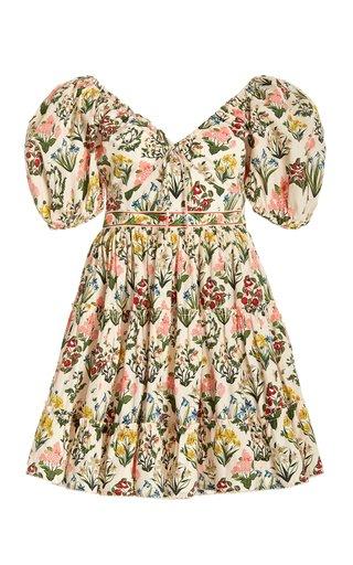 Manzanilla Puff-Sleeve Floral Cotton Mini Dress