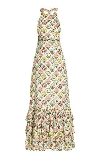 Magnolia Printed Linen Maxi Halter Dress