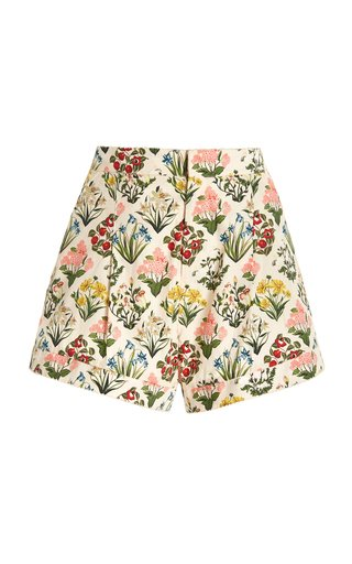Toronjil Pleated Floral Cotton Shorts