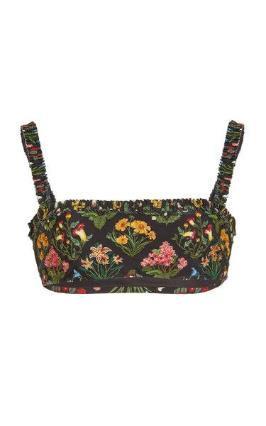 Olmo Floral-Embroidered Bikini Top