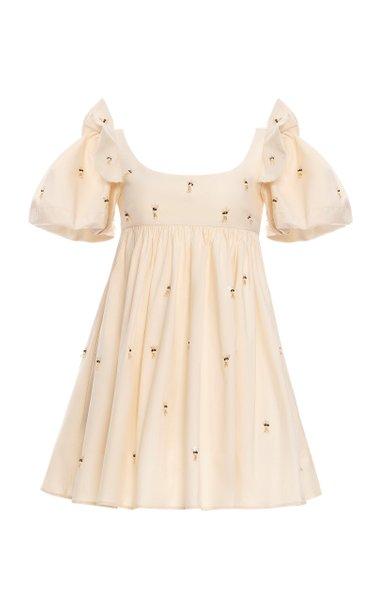 Opalo Lluvia Floral Embroidered Cotton Mini Dress