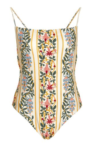Caoba Floral-Embroidered One-Piece Swimsuit