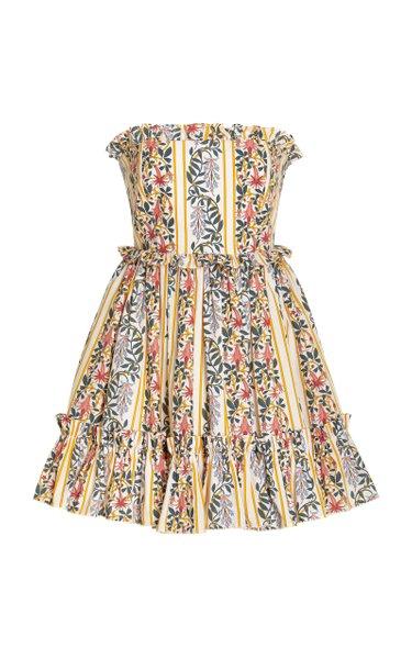Rosa Ruffled Floral Cotton Strapless Mini Dress