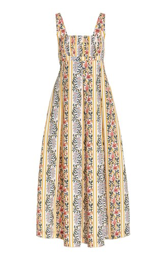 Hortensia Pleated Floral Cotton Maxi Dress