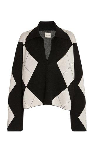 Noelle Oversized Argyle Wool Sweater