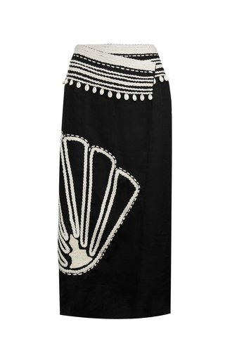 Terra Of Ancestors Embroidered Linen Wrap Skirt