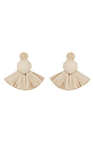 Iraca Palm Moon Shell Earrings