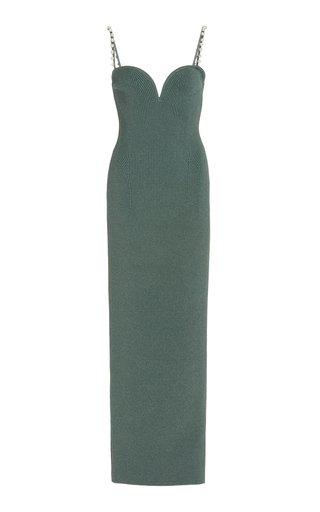 Thalia Pearl-Embellished Ribbed-Knit Midi Dress