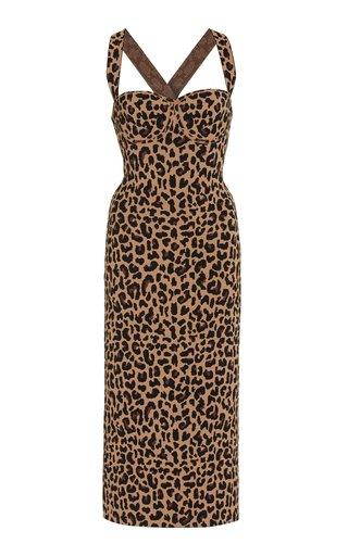 Diana Leopard Jacquard-Knit Midi Dress