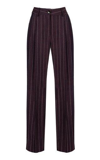 Morgana Wine Banker Pinstripe Linen-Blend Pants