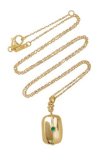 Slim Skye 18K Yellow Gold Emerald Locket Necklace