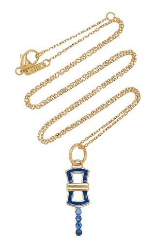 Pocket Watch Key Enameled 18K Yellow Gold Sapphire Necklace