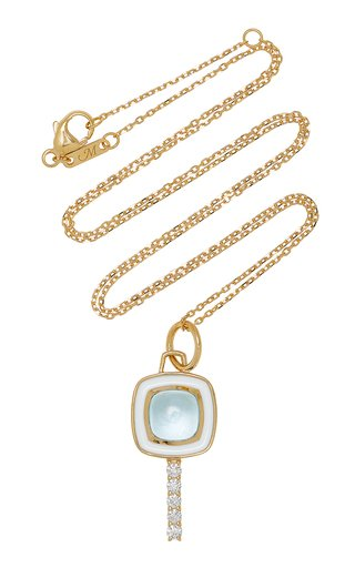 Mini Pocket Watch Key Enameled 18K Yellow Gold Topaz, Diamond Necklace