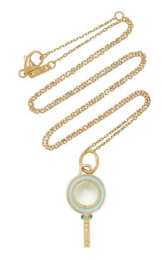 Mini Pocket Watch Key Enameled 18K Yellow Gold Prasiolite, Emerald Necklace
