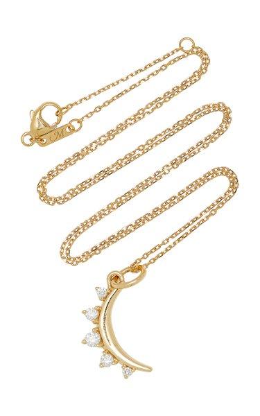 Mini Moon 18K Yellow Gold Diamond Necklace