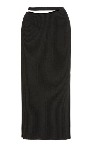 Stevi Cutout Ribbed-Knitted Midi Skirt