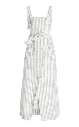 Audrey Button-Front Striped Linen Midi Dress