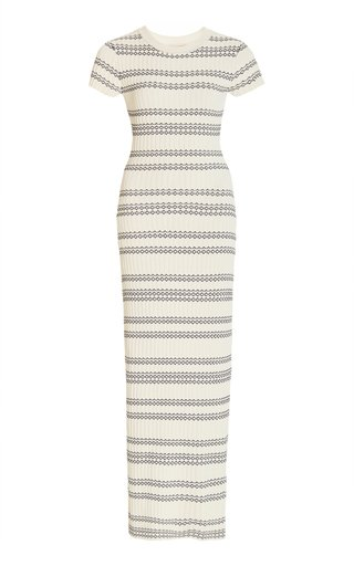 Galyna Striped Ribbed-Knit Maxi Dress