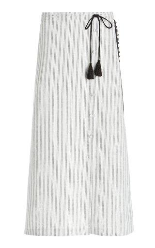 Echo Tasseled Striped Linen Midi Skirt