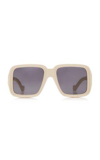 Oversized Rectangular-Frame Acetate Sunglasses
