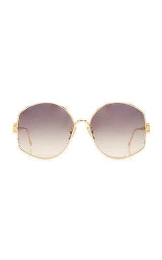 Oversized Circle-Frame Metal Sunglasses