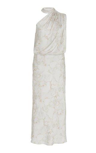 One-Shoulder Marble-Print Satin Midi Dress