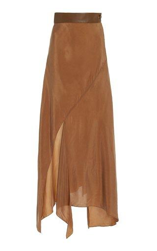 Asymmetric Cupro Maxi Skirt