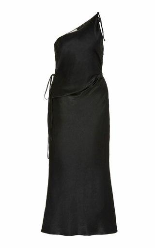 One-Shoulder Crinkle-Satin Midi Dress
