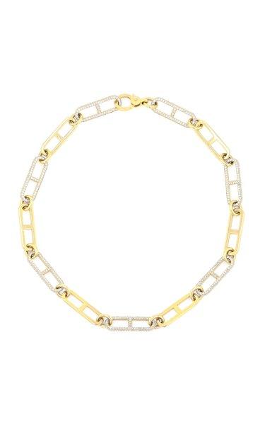 14K Yellow Gold Diamond Chain Necklace