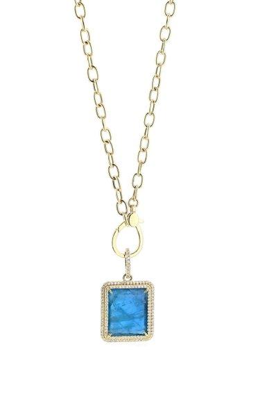 14K Yellow Gold Fluorite, Diamond Necklace