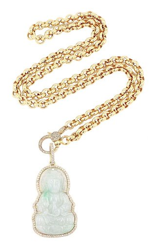 14K Yellow Gold Jade, Diamond Necklace