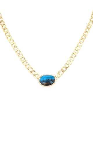 14K Yellow Gold Chrysocolla, Diamond Necklace