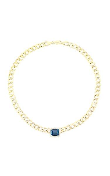 14K Yellow Gold Topaz, Diamond Necklace