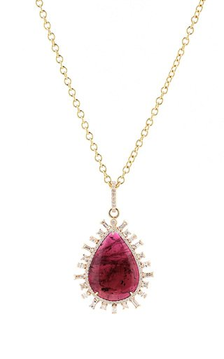 14K Yellow Gold Tourmaline, Diamond Necklace