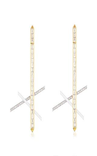 Dagger Enameled 18K Yellow and White Gold Diamond Earrings