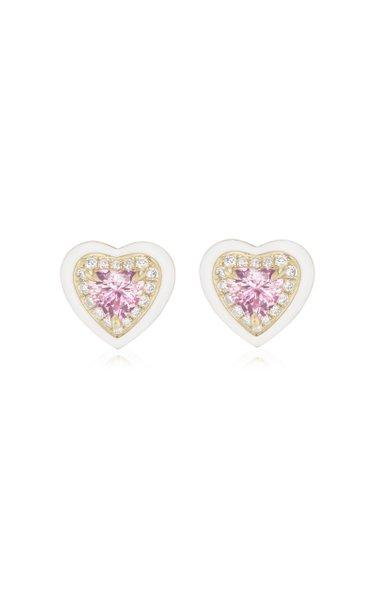 Enameled 18K Yellow Gold Sapphire, Diamond Stud Earrings