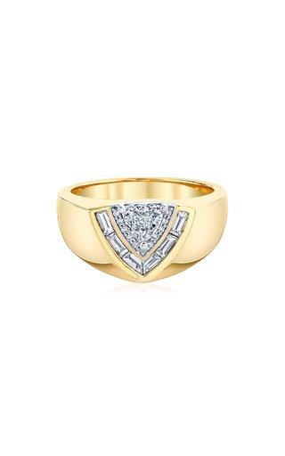 Tiered 18K Yellow Gold Diamond Signet Ring