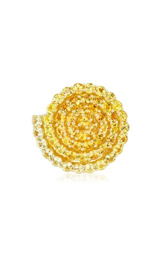 Spiral 18K Yellow Gold Sapphire Ring