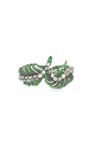 Peacock Paradise 18K White Gold Multi-Stone Bangle