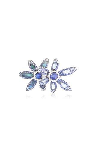 Double Bloom 18K White Gold Multi-Stone Ring