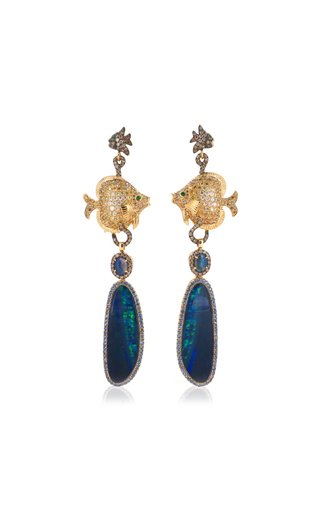 Opalized Fish Convertible 18K Yellow Gold Multi-Stone Earrings