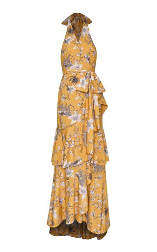 Maicao Tiered Floral-Print Crepe Maxi Dress