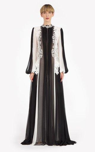 Adia Lace-Paneled Silk-Chiffon Gown