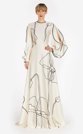 Priela Abstract Floral-Printed Silk-Satin Gown