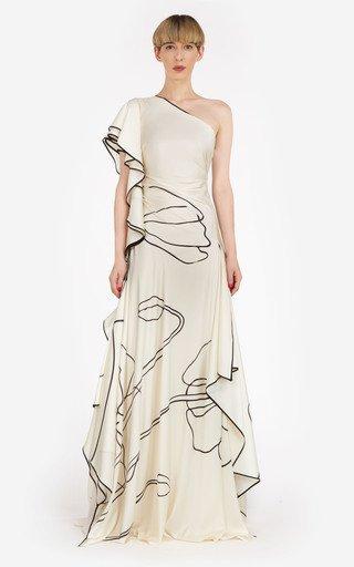 Priela Printed One-Shoulder Silk-Satin Gown