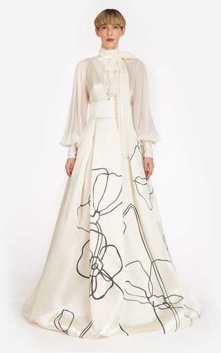 Priela Abstract Floral-Printed Satin Gown
