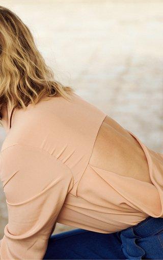 Willa Back-Cutout Silk Crepe-De-Chine Blouse