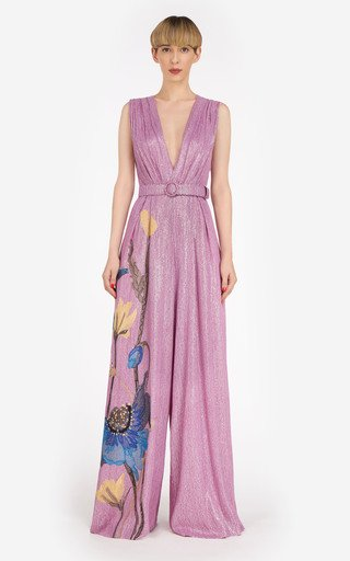 Inez Embroidered Sequined Silk-Blend Chiffon Jumpsuit